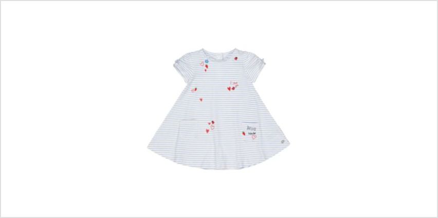 white and blue embroidery stripe dress from Mothercare