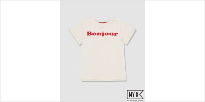 my k white bonjour t-shirt from Mothercare