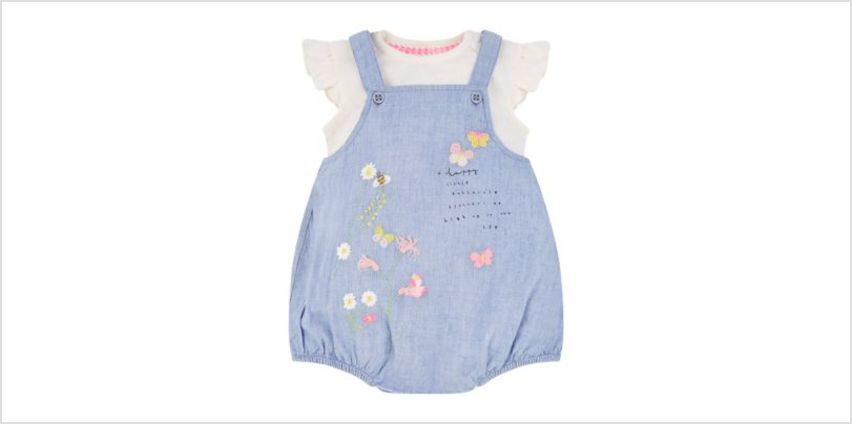 chambray embroidered bibshorts and bodysuit set from Mothercare