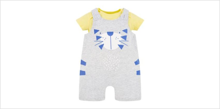 tiger bibshorts and yellow bodysuit set from Mothercare