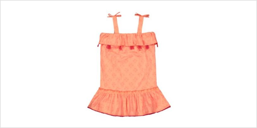 coral palm tree and flamingo tassel dress from Mothercare