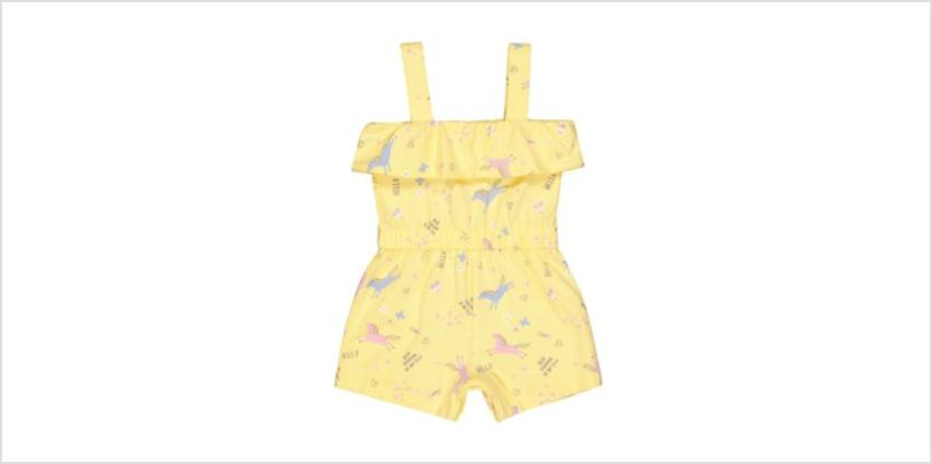 yellow unicorn playsuit from Mothercare