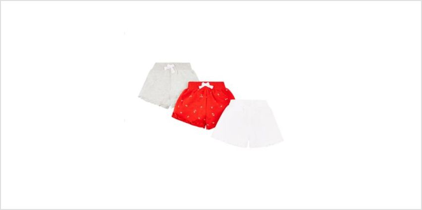 red, grey and white shorts - 3 pack from Mothercare