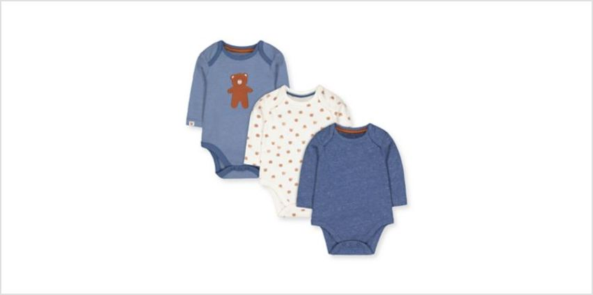 white and blue bear bodysuits - 3 pack from Mothercare