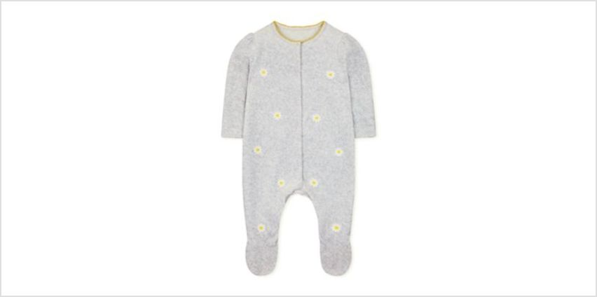grey velour embroidered daisy all in one from Mothercare