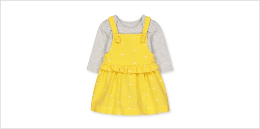 yellow heart woven dress and grey bodysuit set from Mothercare