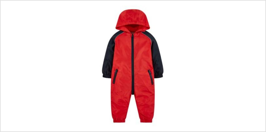 red and navy raglan puddlesuit from Mothercare