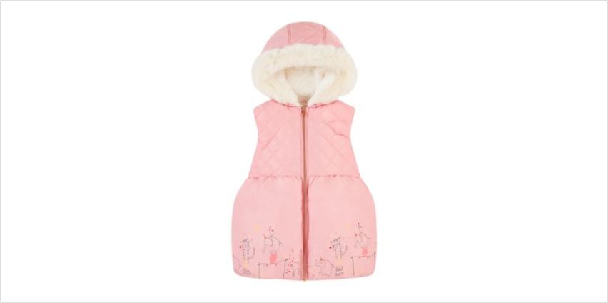 pink circus borg-lined gilet with hood from Mothercare