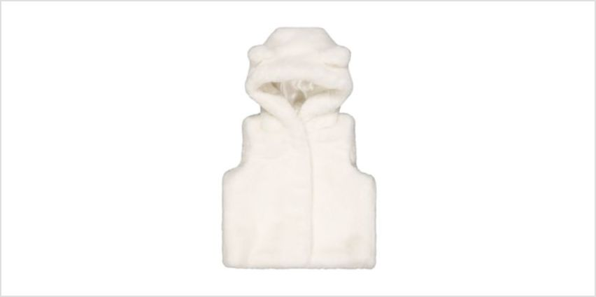 cream faux fur gilet with hood from Mothercare