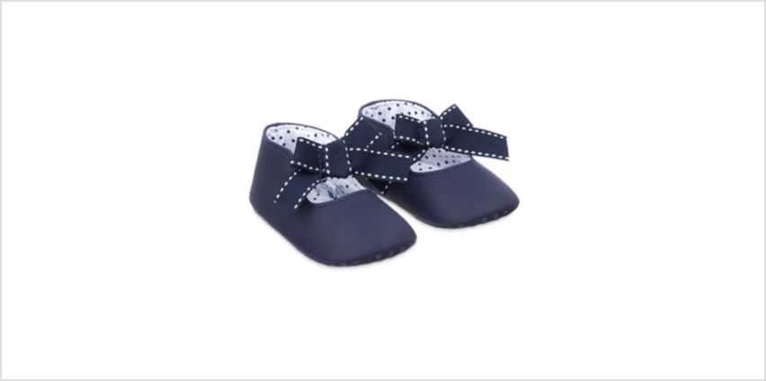 navy bow pram shoes from Mothercare