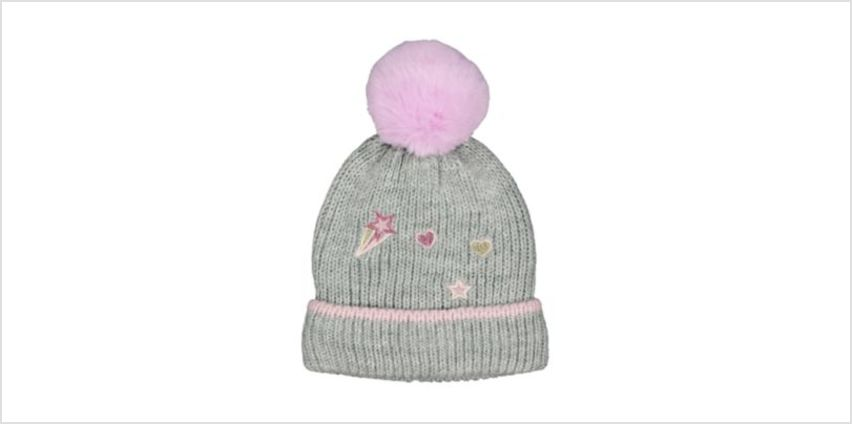 grey glitter badge beanie hat from Mothercare