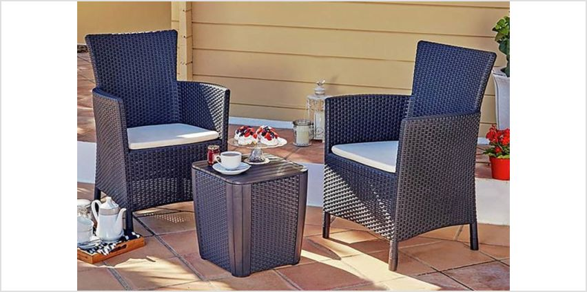 £84.99 instead of £169.99 (from Trojan Electronics 2018 Ltd) for a Keter Iowa 3pc rattan effect bistro set with storage - save 50% from Wowcher