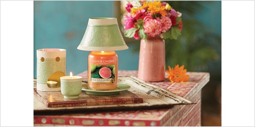 £19.99 instead of £44 for a Yankee Candle vintage shade, tray & delicious guava gift-set from Yankee Bundles - save 55% from Wowcher