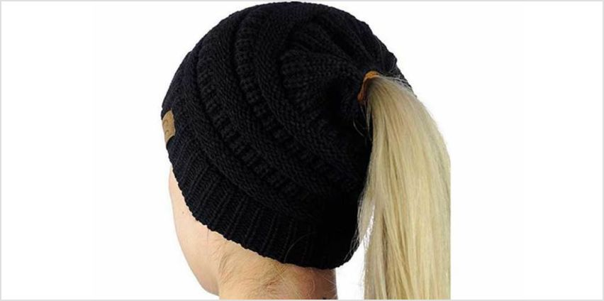 Get snug and stylish with a knitted ponytail beanie hat – choose from four colours! from Wowcher