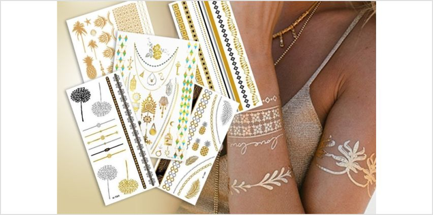 £2.99 for a pack of 3, £3.99 for a pack of 5 or £6.99 for a pack of 10 temporary metallic tattoos from Forever Cosmetics - save up to 90% from Wowcher