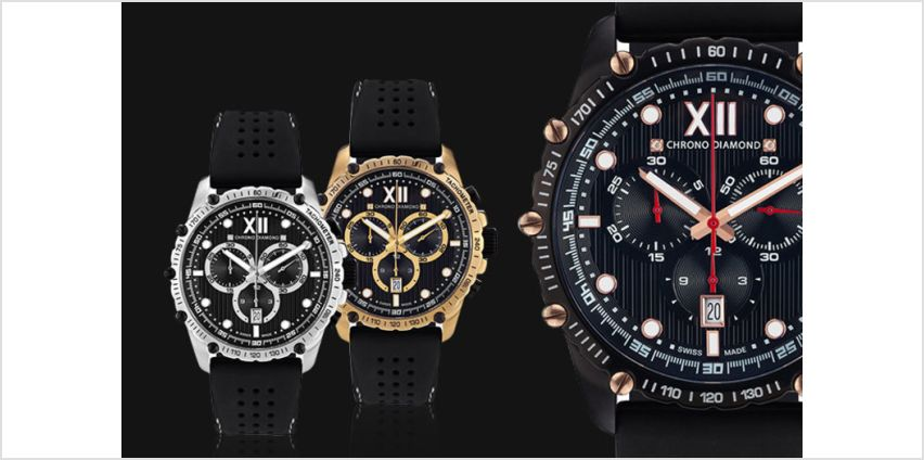 £199 instead of £1538.73 (from Rotatio) for a Chrono Diamond 'Neelos' men's watch - choose from three designs and save 87% from Wowcher