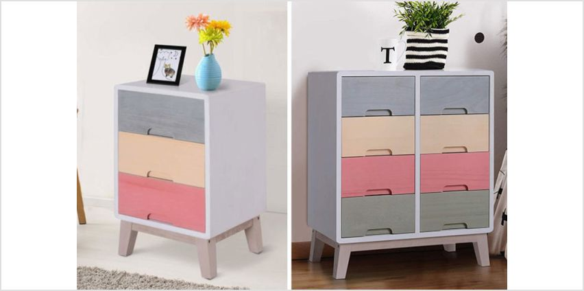 £63 instead of £112.01 (from mHstar) for an eight drawer rainbow chest of drawers, or £39 for a three drawer chest of drawers – save up to 58% from Wowcher