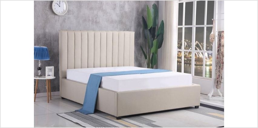 £199 (from That Mattress) for a Chenille ottoman storage double bed frame, or £219 for a king bed frame from Wowcher