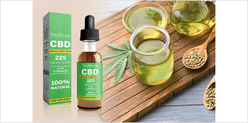£9.99 instead of £39.99 (from Personal Choice) for 2.5% Wellform CBD drops, £14 for 5% drops, £24 for 10% drops –save up to 68% from Wowcher