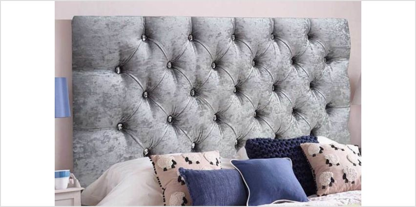 From £24 instead of £64.99 (from Serenity Designs) for a crushed velvet diamante headboard - choose from 6 sizes and save up to 63% from Wowcher