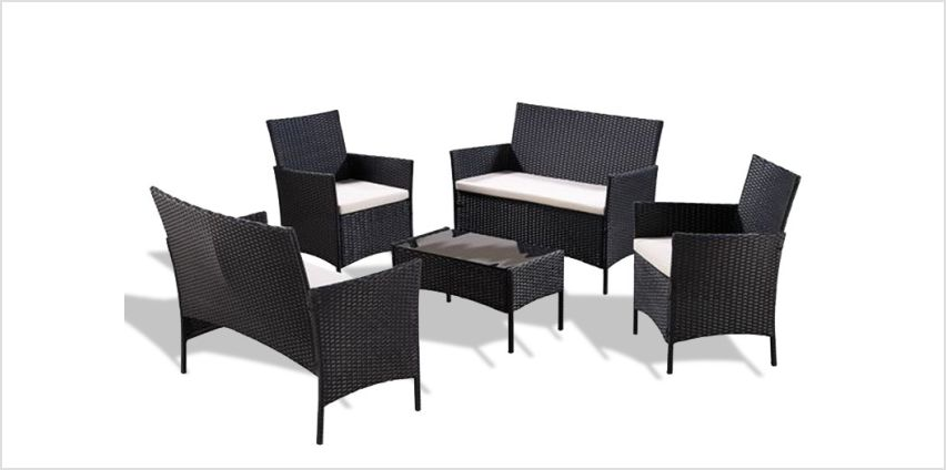 £159 instead of £699.99 (from UK Furniture Zone) for a five-piece polyrattan garden furniture set with cover - save 77% from Wowcher