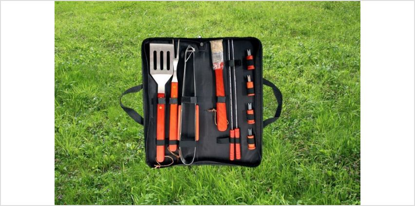 £6.99 instead of £19.99 for an 11-piece stainless steel BBQ grilling set with carry case from Direct2Public Ltd - save 70% from Wowcher
