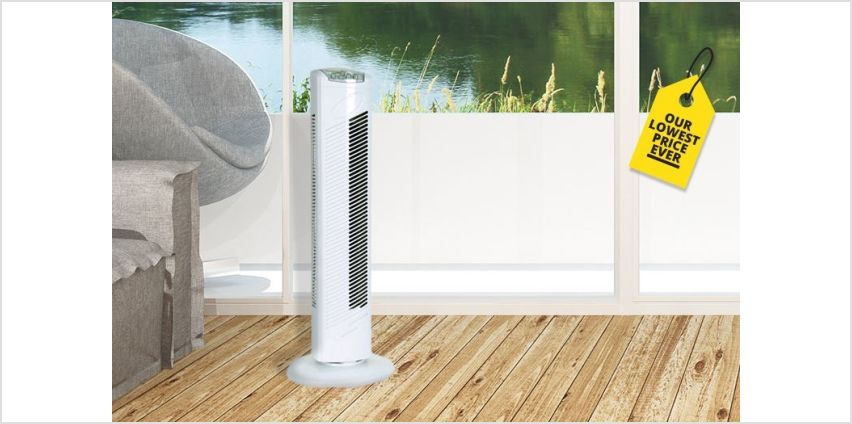 """£17.99 instead of £59.99 for a 29"""" oscillating tower fan from Direct2Public Ltd - save 70% from Wowcher"""