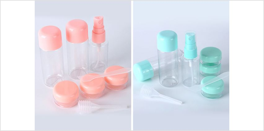 £5.99 instead of £23 (from Forever Cosmetics) for a 9pc travel bottle set – choose from two colours and save 74% from Wowcher