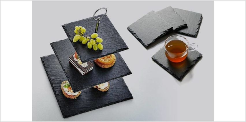 From £3.99 instead of £11.99 (from Nitaar) for a natural slate dining set - save up to 67% from Wowcher