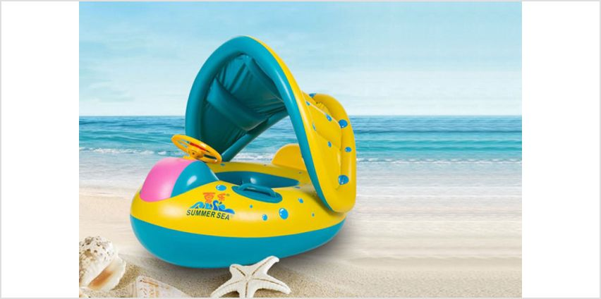 £7.99 instead of £30.99 (from Tom Shop) for an inflatable baby float boat with sunshade - save 74% from Wowcher