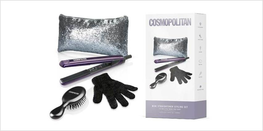 £17.99 instead of £25 (from J D Williams) for a Cosmopolitan Ultra Violet mini hair straightener set and glitter bag – save 28%. from Wowcher
