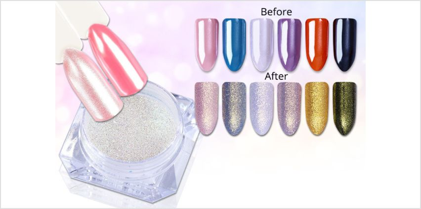 £4.99 instead of £11.98 for two glamza mermaid magic mirror nail dusts from Forever Cosmetics - save 58% from Wowcher