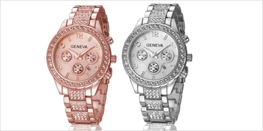 £12 instead of £49 for a crystal Geneva Freya watch from Solo Act Ltd - save 76% from Wowcher