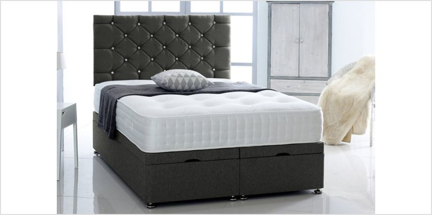 Chenille Ottoman Bed with Headboard & Mattress – 2 Colours! from Wowcher