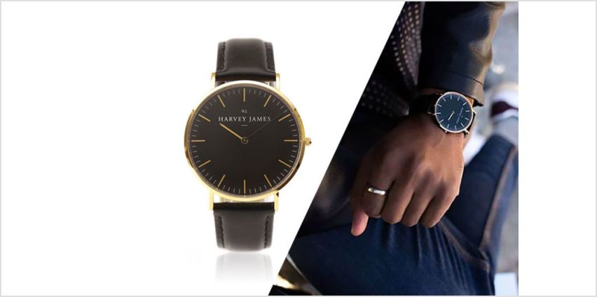 £39 instead of £199 (from Harvey James) for a unisex gold-plated Harvey James watch - choose from three designs and save up to 80% from Wowcher