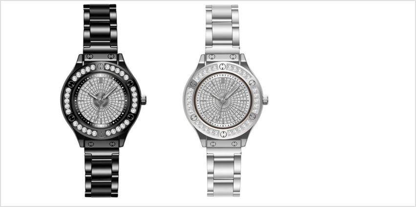£8.99 for a ladies crystal rivet design watch from Solo Act Ltd from Wowcher