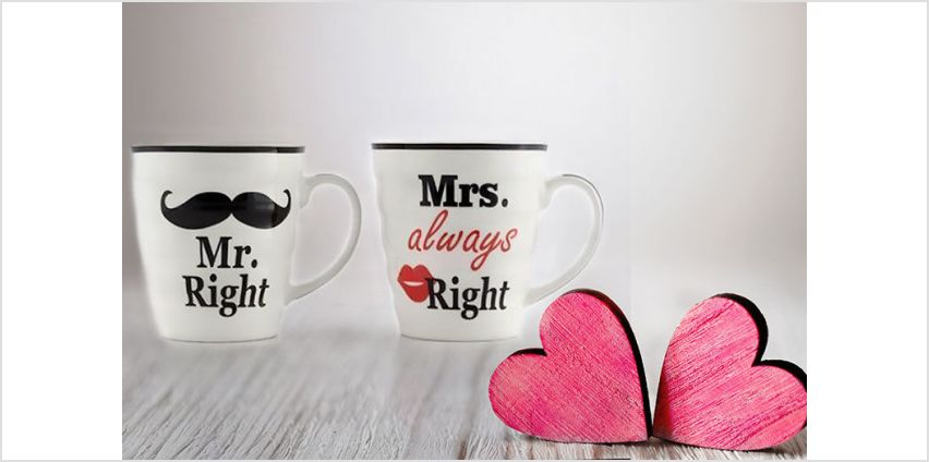 £6.99 instead of £19.99 for Mr. and Mrs. Right porcelain mugs from London Exchain Store - save 65% from Wowcher