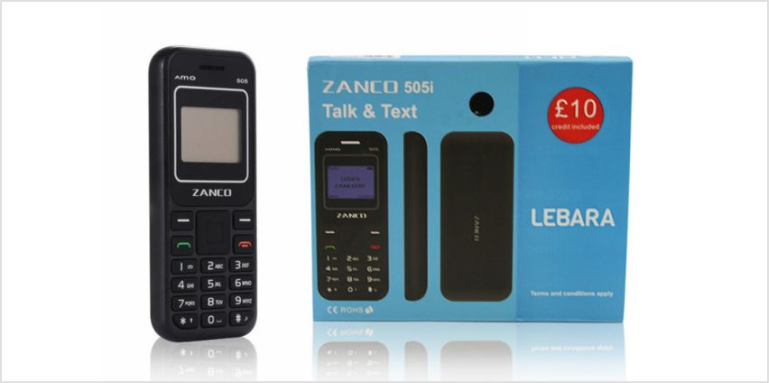 £16.50 instead of £30 (from Sol Electronics) for a Zanco 505i mobile phone and Lebara SIM card - save 45% from Wowcher