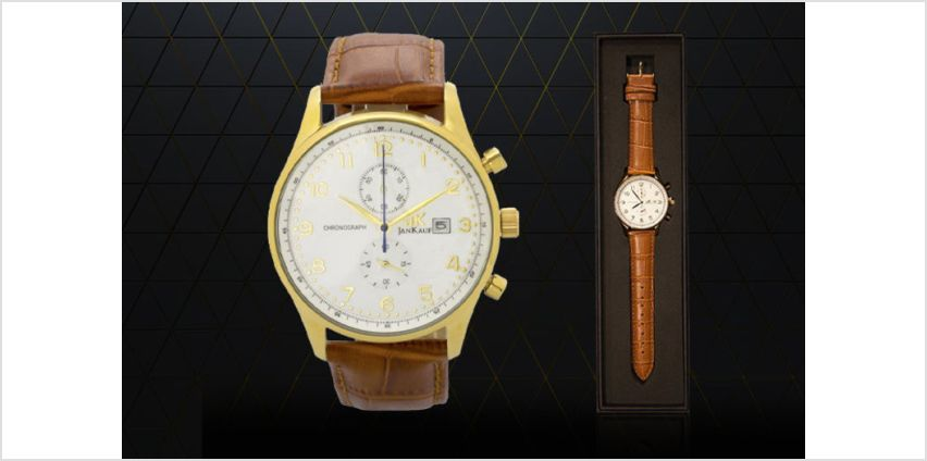 £39 (from Jan Kauf) for a men's JK1037 brown and gold leather watch from Wowcher