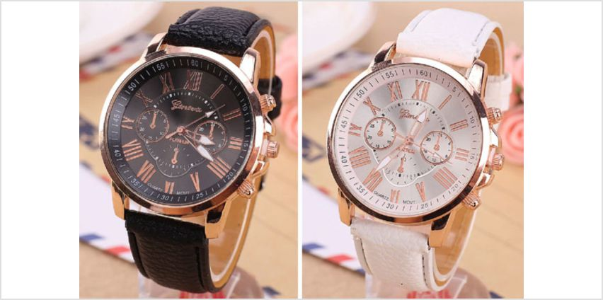 £5 (from Backtogoo) for a ladies' Geneva watch - choose from five colours from Wowcher