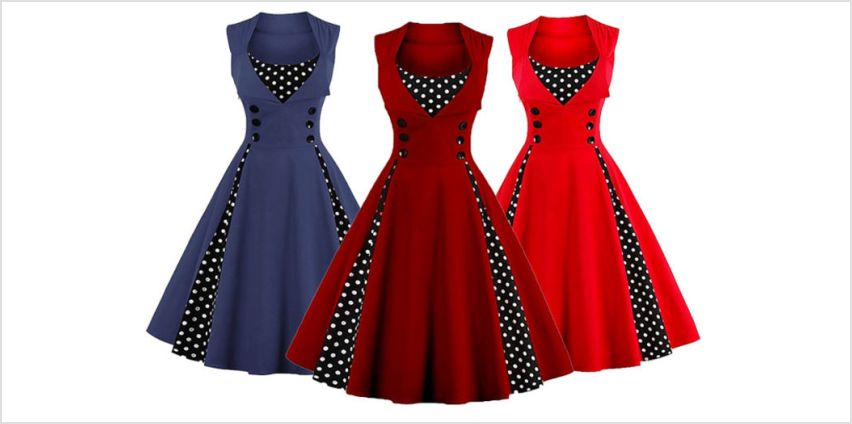 £12.99 instead of £39.99 (from Blu Fish) for a retro polka dot swing dress – choose from six colours and save 68% from Wowcher