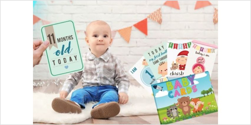 £3.99 instead of £9.99 (from Black Feather Online) for double-sided milestone baby cards for boys and girls – save 60%. from Wowcher