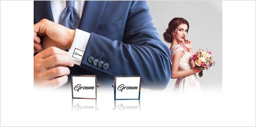 £9.99 instead of £19.99 (from We Personalize) for a pair of personalised wedding cufflinks - save 50% from Wowcher