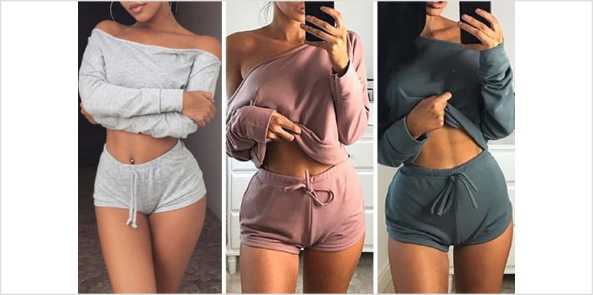 £8.99 instead of £29.99 (from Backtogoo) for an off-shoulder loungewear set – choose from five colours and save 70% from Wowcher