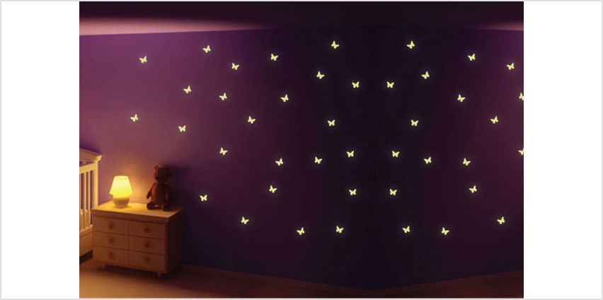 £3.99 instead of £14.99 for 22 glow in the dark butterfly stickers from Fab Deco Ltd - Deco Matters - save 73% from Wowcher