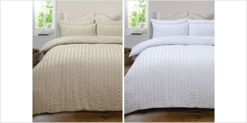 From £12 instead of £28.49 (from HomesPerfect) for a Highams seersucker duvet set - choose from four colours and four sizes and save up to 58% from Wowcher
