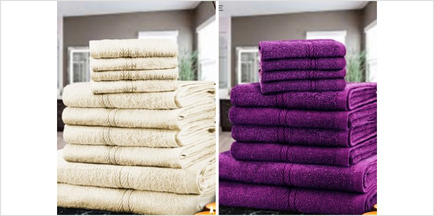 £9.99 instead of £39.99 (from Fusion Online) for a 10-piece cotton towel bale - choose from 12 colours and save 75% from Wowcher