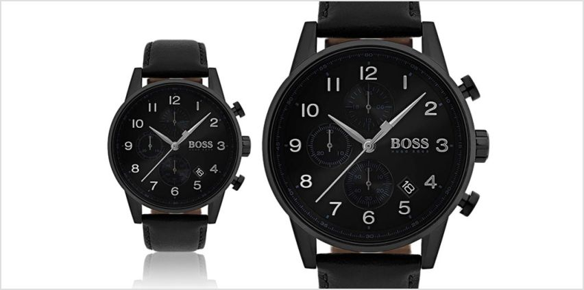 £139 instead of £346 (from The Best Watch Shop) for a men's leather Hugo Boss black navigator HB1513497 chronograph watch - save 60% from Wowcher