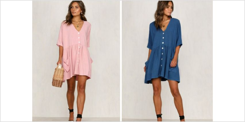 £8.99 (from Backtogoo) for an oversize button down shirt dress – choose from four colours from Wowcher