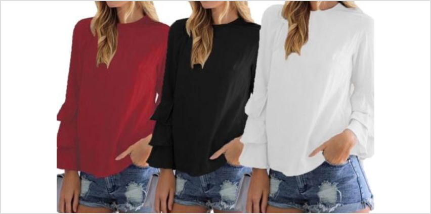 £6.99 instead of £19.99 for a multi-layer sleeve light blouse - choose from six colours from Backtoogoo - save 65% from Wowcher